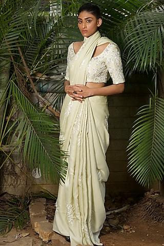 Olive Green Thread Embroidered Saree Set by Shloka Sudhakr