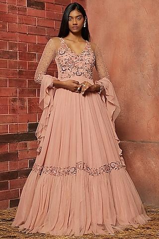 Blush Pink Embellished Anarkali Set by SHLOKA KHIALANI