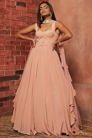 Blush Pink Embellished Pleated Anarkali Set by SHLOKA KHIALANI