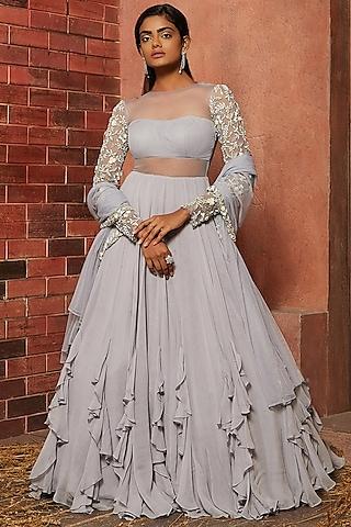 Lilac Embellished Anarkali Set by SHLOKA KHIALANI