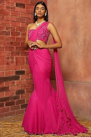 Magenta Embellished Saree Set by SHLOKA KHIALANI