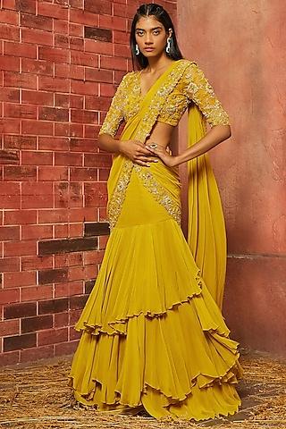 Yellow Embellished Saree Set by SHLOKA KHIALANI