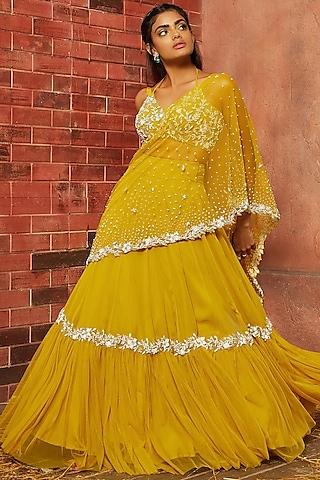 Yellow Embellished Lehenga Set by SHLOKA KHIALANI
