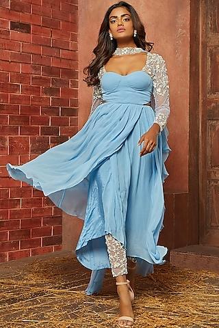 Powder Blue Embellished Kurta Set by SHLOKA KHIALANI