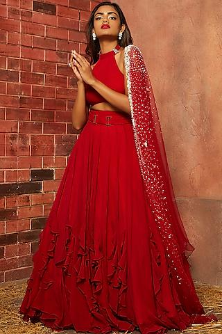 Red Embellished Ruffled Lehenga Set by SHLOKA KHIALANI