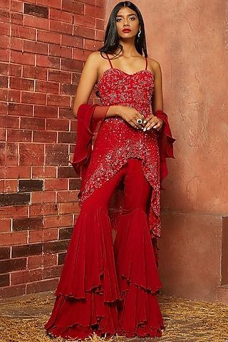 Red Embellished Sharara Set by SHLOKA KHIALANI
