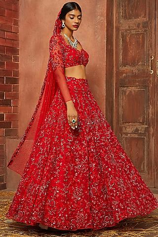 Red Embellished Lehenga Set by SHLOKA KHIALANI