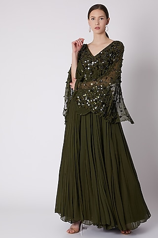 Olive Green Embroidered Gown by SHLOKA KHIALANI