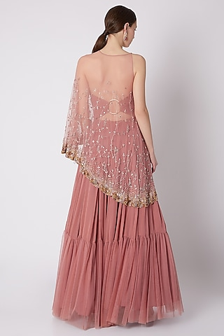 Rose Pink Gown With Attached Embroidered Cape by SHLOKA KHIALANI
