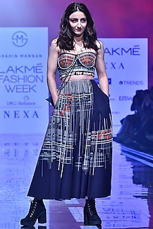 Navy Blue Fitted Embroidered Corset by Shahin Mannan-LAKMÉ FASHION WEEK S/R '20