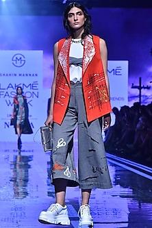 Orange Machine & Hand Embroidered Jacket by Shahin Mannan-LAKMÉ FASHION WEEK S/R '20