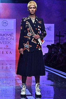 Navy Blue Overlapped Coat With Embroidery by Shahin Mannan