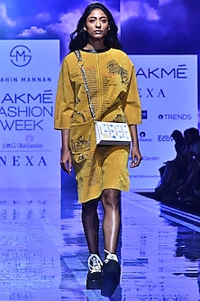 Mustard Embroidered Kaftan Dress by Shahin Mannan-LAKMÉ FASHION WEEK S/R '20