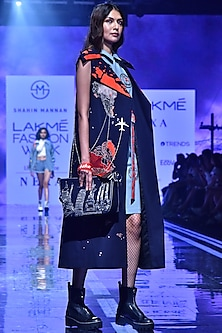 Navy Blue Embroidered Jacket With Pockets by Shahin Mannan