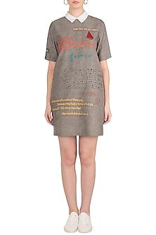 Grey Embroidered Mini Dress by Shahin Mannan
