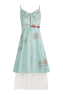 Powder Blue Embroidered Spaghetti Strap Dress by Shahin Mannan