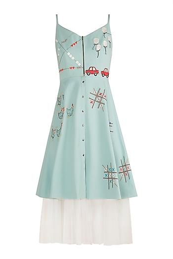 Powder Blue Embroidered Spaghetti Strap Dress by Shahin Mannan