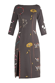 Grey Embroidered Dress by Shahin Mannan