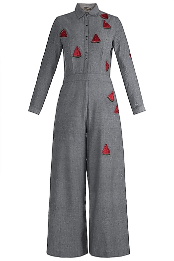Grey Embroidered Jumpsuit by Shahin Mannan