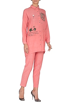 Pink Embroidered Shirt With Pants by Shahin Mannan