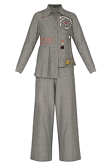 Grey Embroidered Shirt With Pants by Shahin Mannan