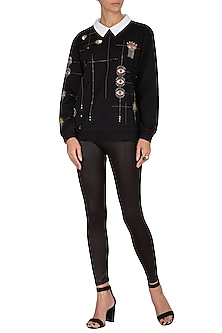 Black Embroidered Sweatshirt by Shahin Mannan
