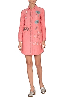 Blush Pink Embroidered Shirt Dress by Shahin Mannan