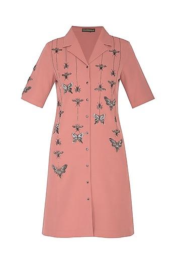 Onion Pink Embroidered Shirt Dress by Shahin Mannan