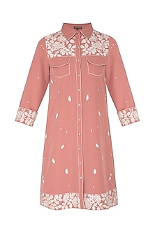 Onion Pink Embroidered Shirt Jacket by Shahin Mannan