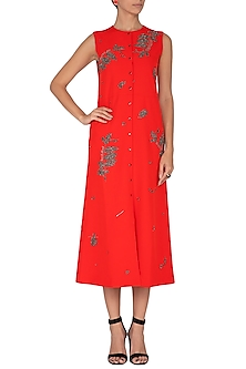 Red Embroidered Dress by Shahin Mannan