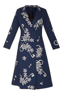 Navy Purple Embroidered Coat Dress by Shahin Mannan