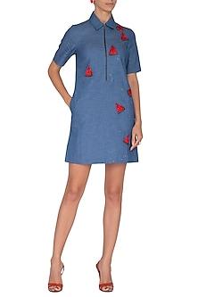 Sky Blue Embroidered T-Shirt Dress by Shahin Mannan