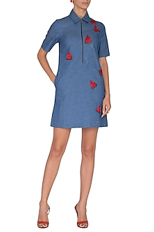 Sky Blue Embroidered T-Shirt Dress by Shahin Mannan