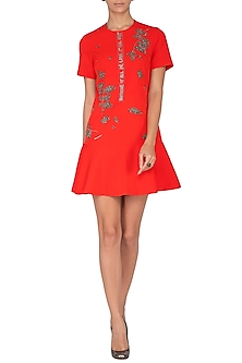 Red Embroidered Mini Dress by Shahin Mannan