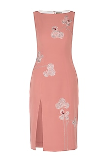 Onion Pink Embroidered Dress by Shahin Mannan