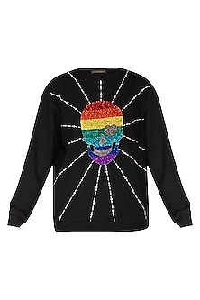 Black Embroidered Fleece Sweatshirt by Shahin Mannan