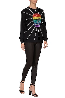 Black Embroidered Fleece Sweatshirt by Shahin Mannan