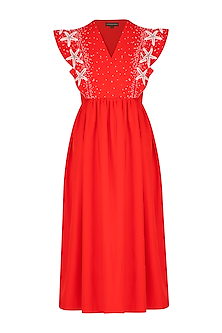 Red Embroidered Midi Dress by Shahin Mannan