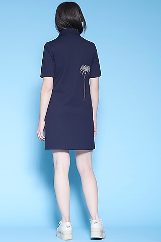 Navy Blue Palm Trees Embroidered Dress by Shahin Mannan