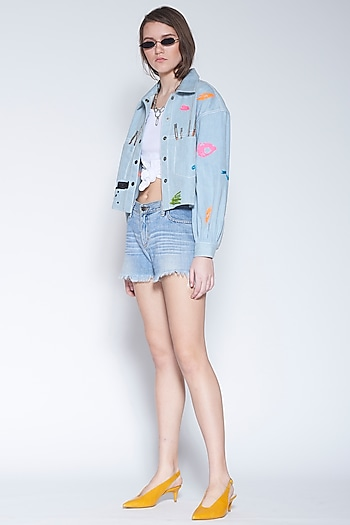 Light Blue Jacket With Colorful Embroidery by Shahin Mannan