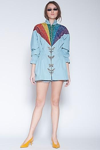 Powder Blue Embroidered Jacket Dress by Shahin Mannan