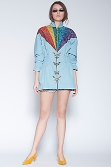 Powder Blue Embroidered Jacket Dress by Shahin Mannan