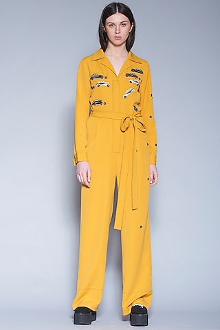 Yellow Hand Embroidered Jumpsuit With Belt by Shahin Mannan