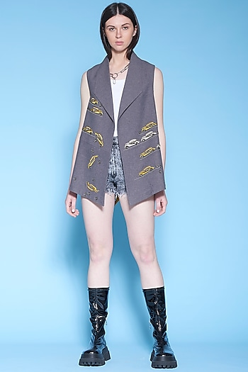 Dark Melange Grey Embroidered Jacket by Shahin Mannan