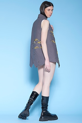 Dark Melange Grey Embroidered Jacket by Shahin Mannan