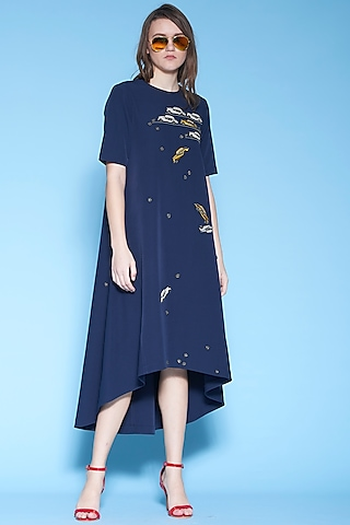 Navy Blue Embroidered High-Low Dress by Shahin Mannan