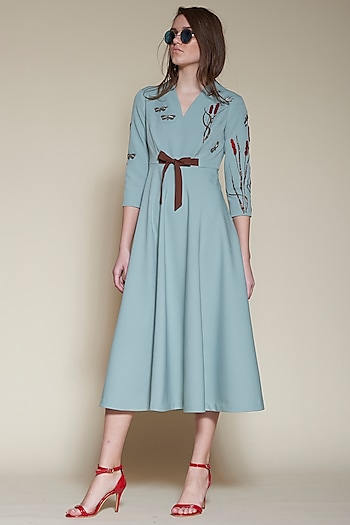 Sage Green Embroidered Midi Dress by Shahin Mannan