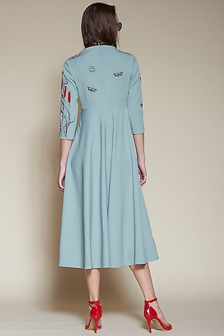 Sage Green Embroidered Midi Dress by Shahin Mannan