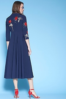 Navy Blue Hand Embroidered Midi Dress by Shahin Mannan