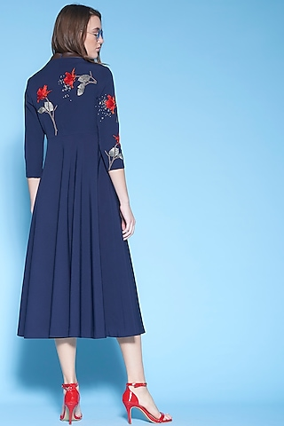 Navy Blue Hand Embroidered Midi Dress by Shahin Mannan